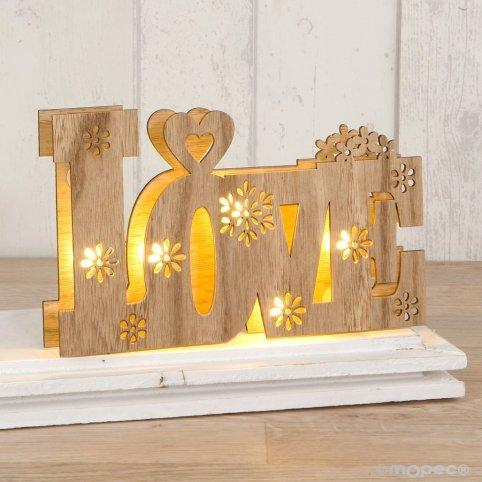 Liebe Holzdekoration mit 21x13cm LED-Leuchten, 2 Batterien enthalten