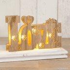 Decoración madera Love con luces led 21x13cm.,2 pilas incluídas