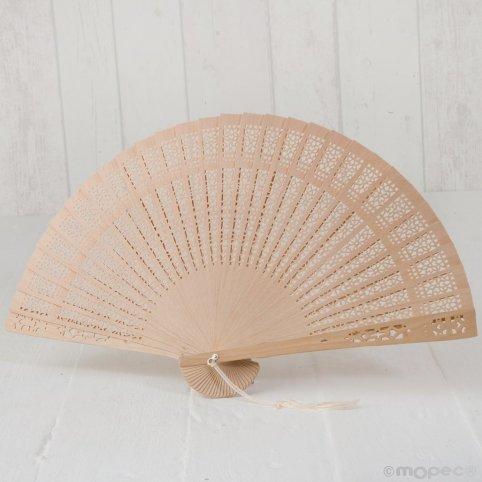 Fan die-cut natural wood 23cm with tassel