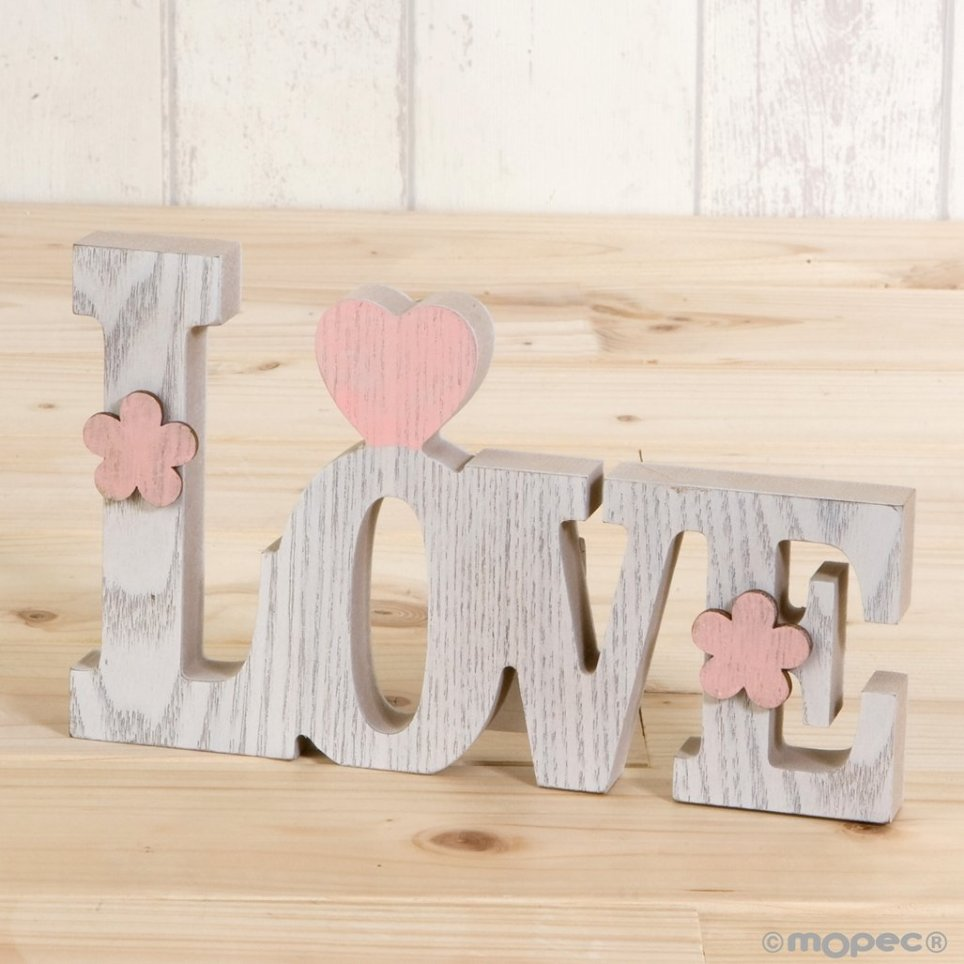 Decoración madera Love 20 cm