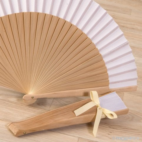 Natural wood fan and 23cm white fabric, adorned