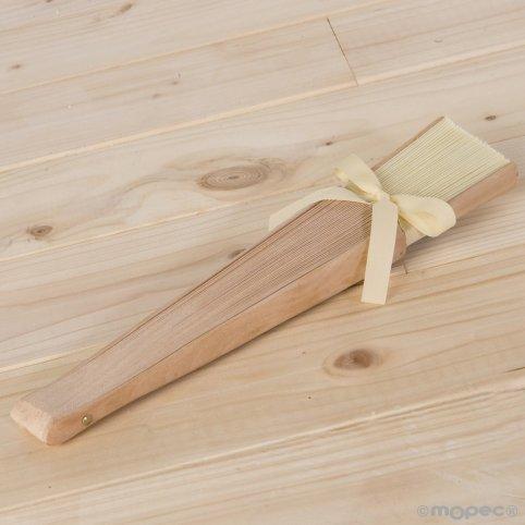 Abanico madera madera natural y tela marfil 23cm.adornado