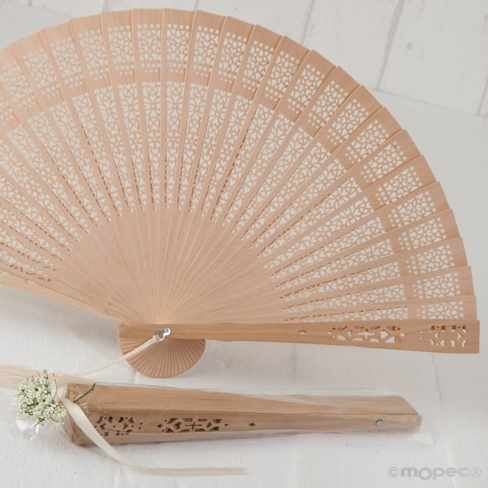 Fan die-cut natural wood with tassel and ornate