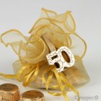 Molletta da bucato in legno dorato per 50 ° anniversario con 4 torino