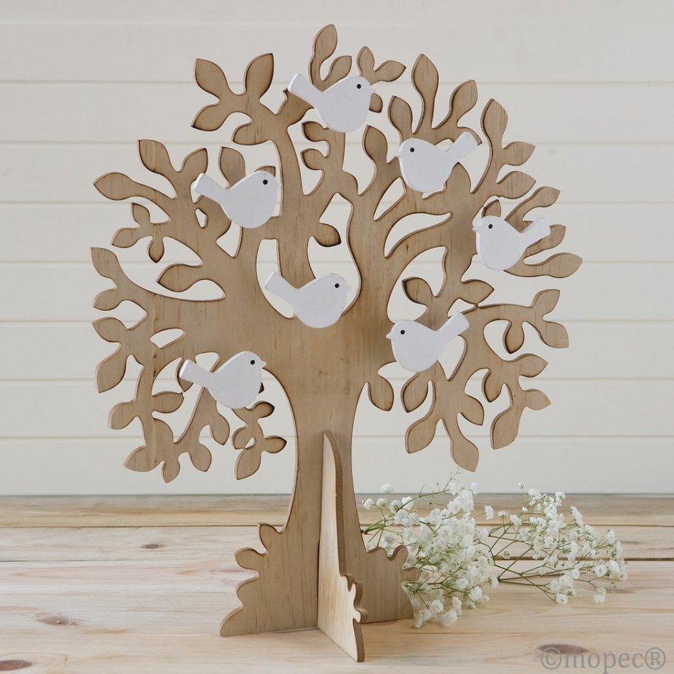 Árbol-joyero de los deseos madera pajaritos 33x43cm.
