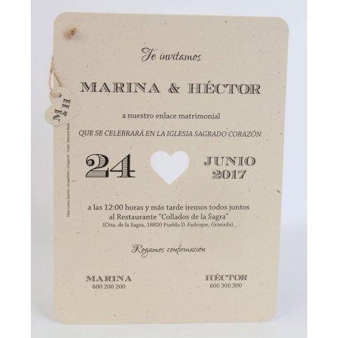 Kraft Heart Wedding Invitation Edima 100,720