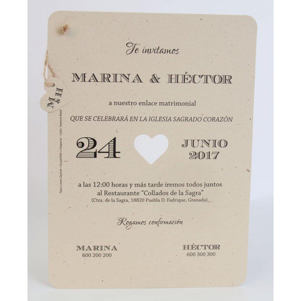 Invitación de boda corazón kraft Edima 100.720