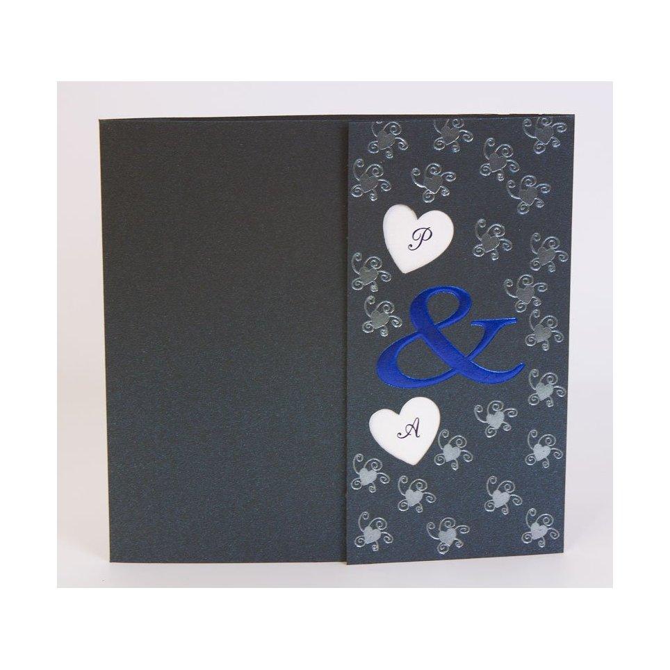 Hearts Wedding Invitation in Blue Edima 100,206