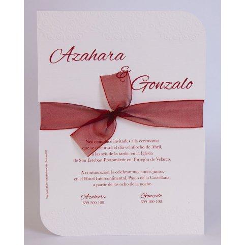 Invitación de boda lazo granate Edima 100.730