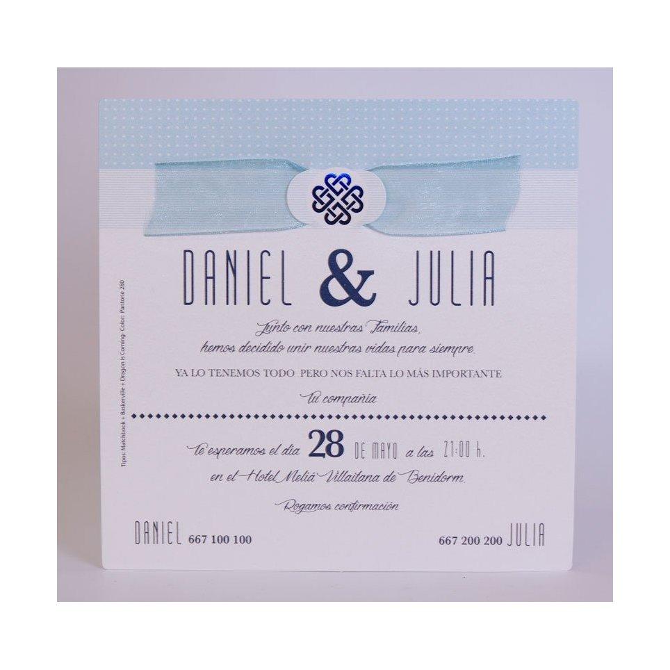 Invitación de boda símbolo azul Edima 100.721