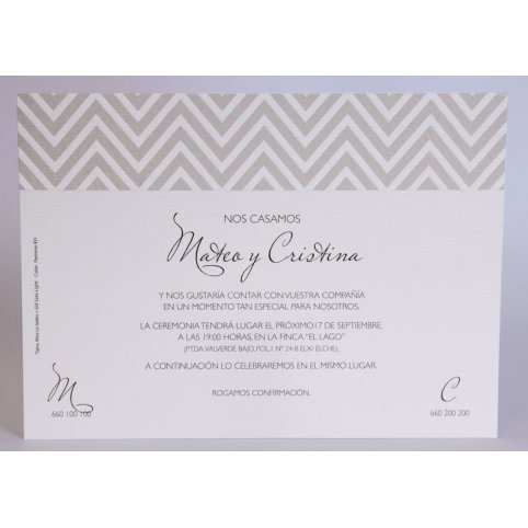 Invitación de boda greca gris Edima 100.724