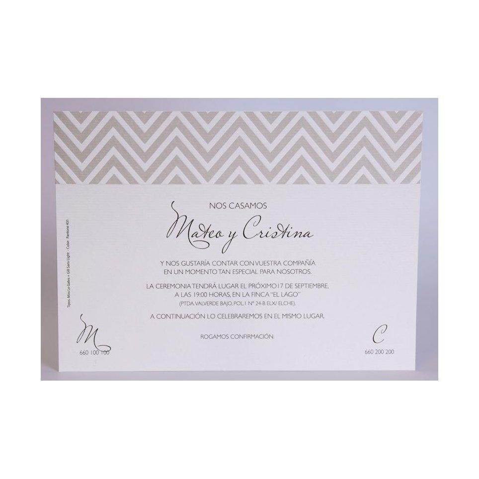 Grey Greca Wedding Invitation Edima 100,724