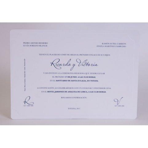 Klassische weiße Hochzeitseinladung Edima 100.548