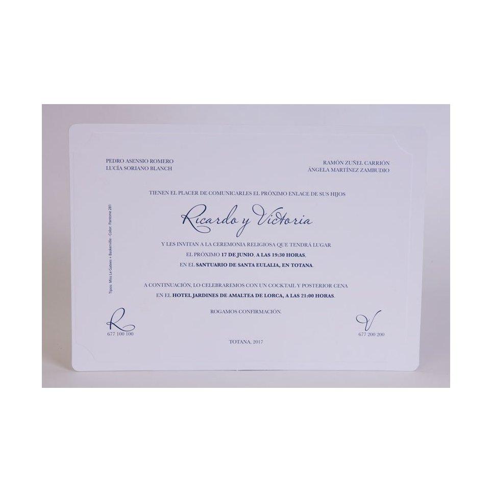 Invitación de boda clásica blanca Edima 100.548