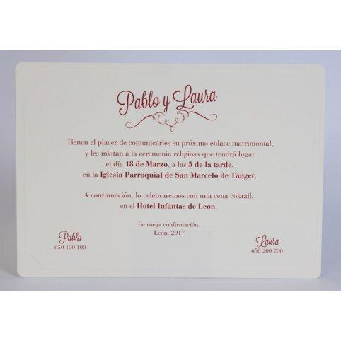 Invitación de boda crema y granate Edima 100.550