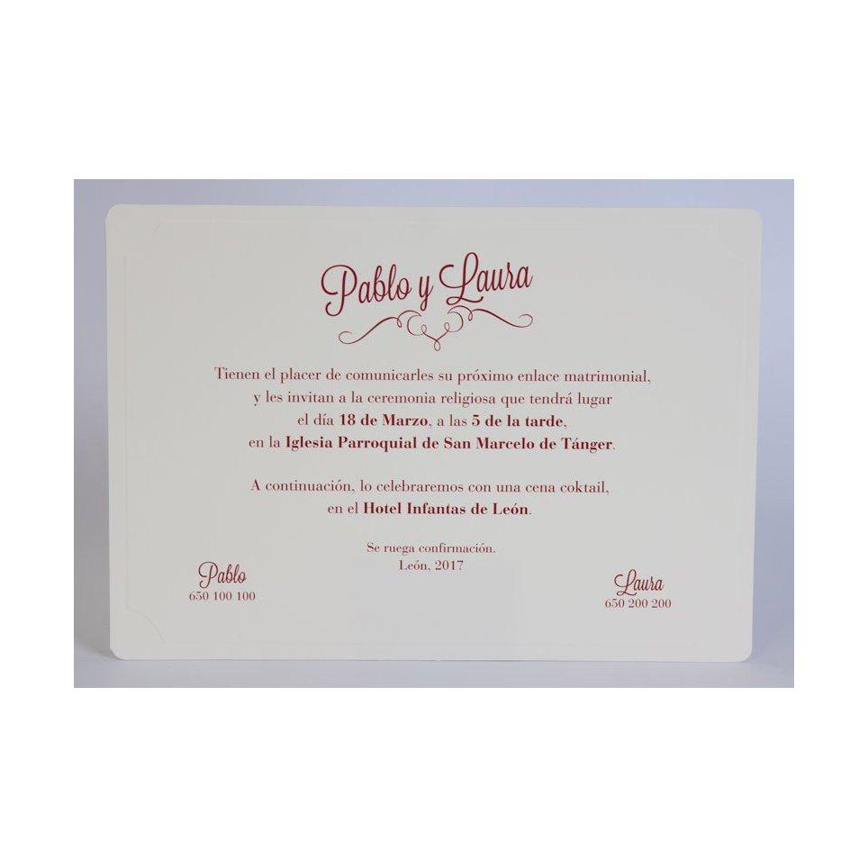Cream and Garnet Wedding Invitation Edima 100,550