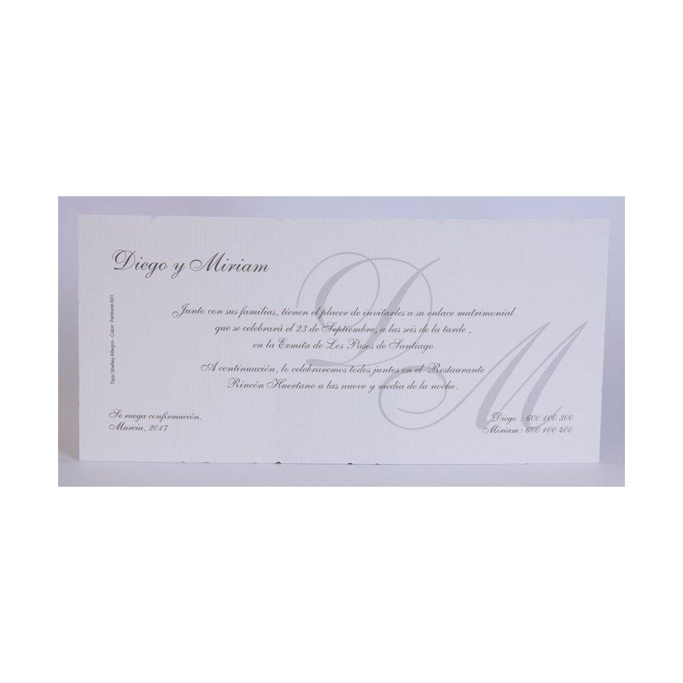 Invitación de boda clásica blanca Edima 100.054
