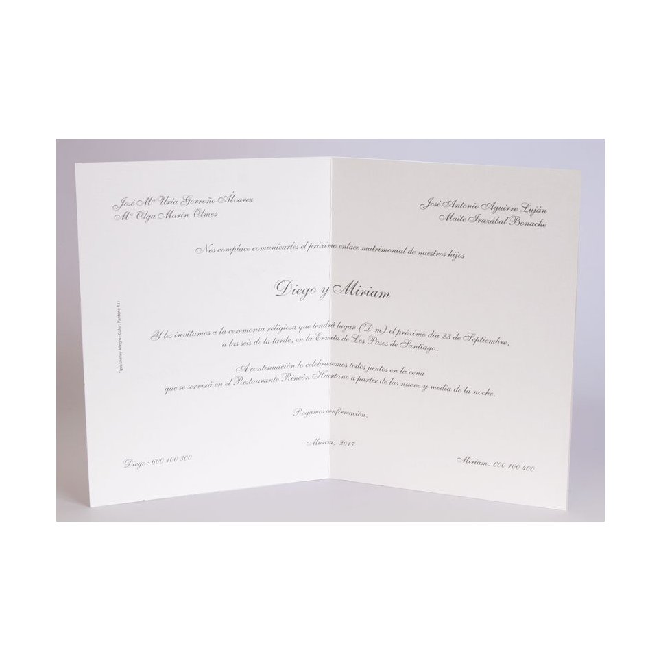 Edima Stoff weiße Hochzeitseinladung 100.058