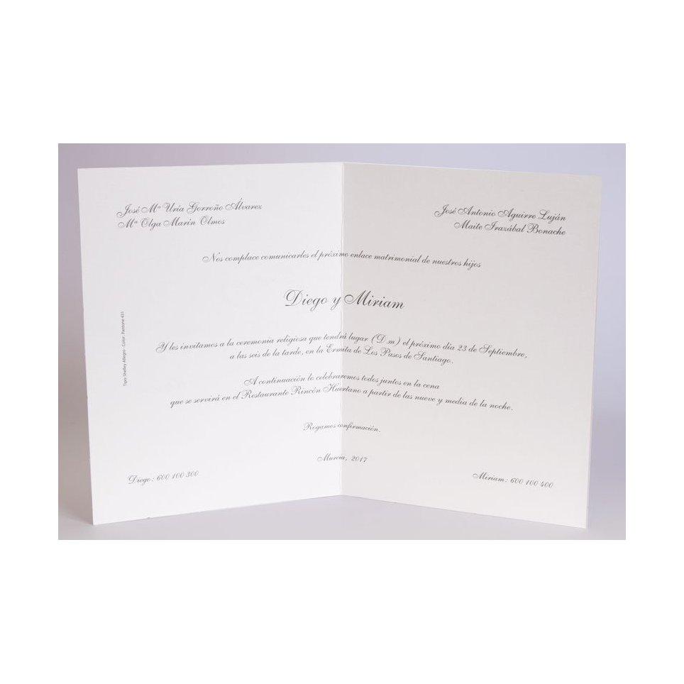 Partecipazione matrimonio in tessuto Edima bianco 100.058.00