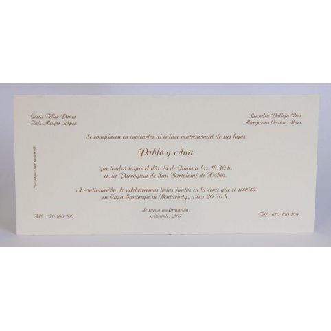 Klassische Hochzeitseinladungscreme auf Edima 100.055