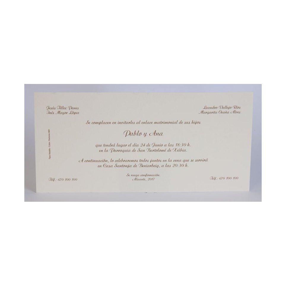 Invitación de boda clásica crema sobre Edima 100.055