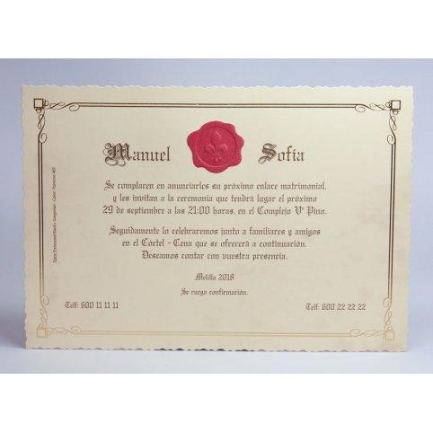 Edima 100.733 gewachste Hochzeitseinladung