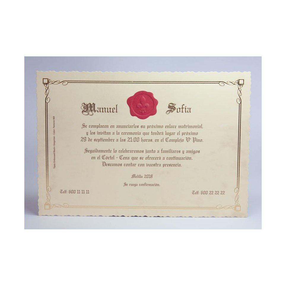 Invitación de boda lacrado Edima 100.733