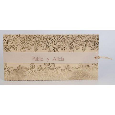Invitación de boda flores oro Edima 100.734