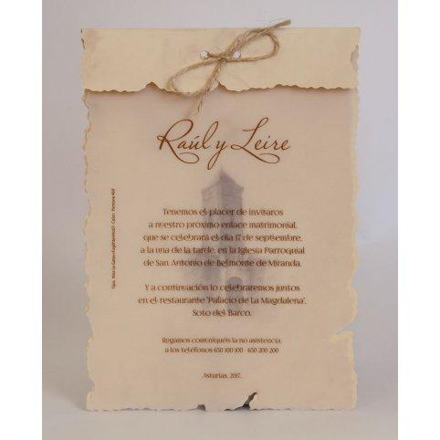 Partecipazione matrimonio in pergamena con fiocco, Edima 100.238