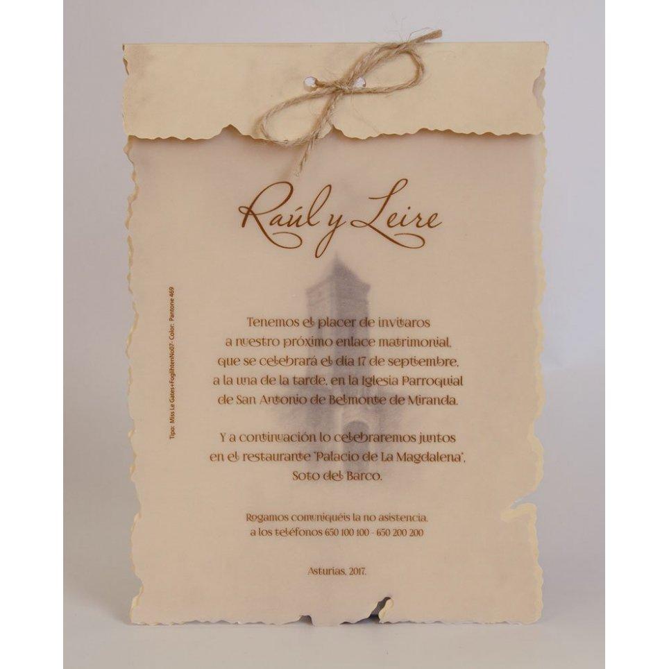 Invitación de boda pergamino con lazo, Edima 100.238