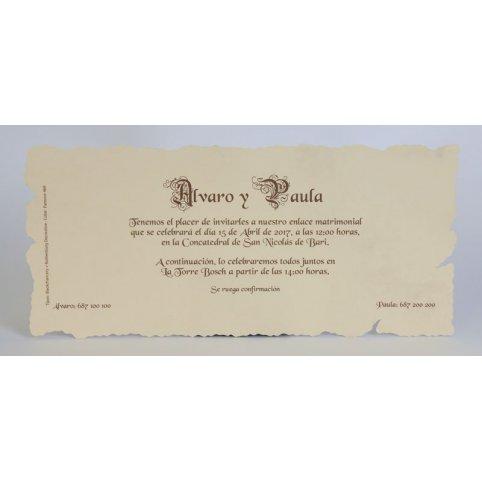 Invitación de boda pergamino rectangular Edima 100.215