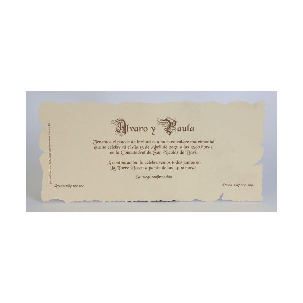 Edima 100.215 rechteckige Pergamenthochzeitseinladung