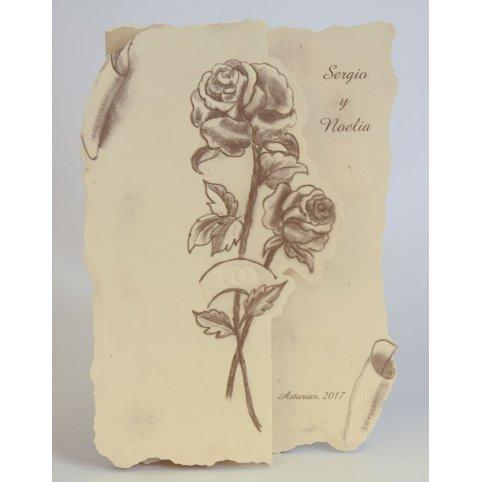 Invitación de boda pergamino y rosas Edima 100.133