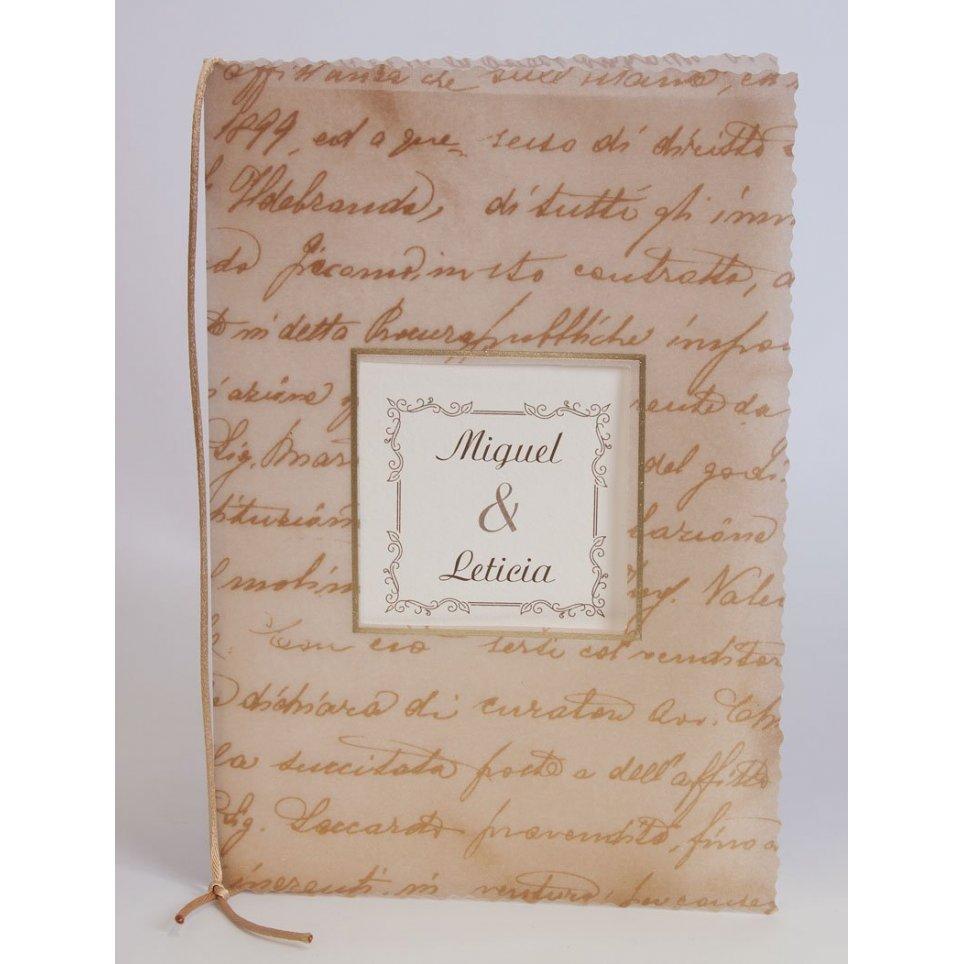 Klassische Pergament-Hochzeitseinladung, Edima 100.316