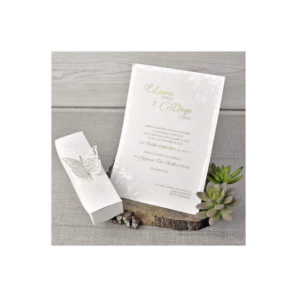 Invitación de boda mariposa Cardnovel 39338