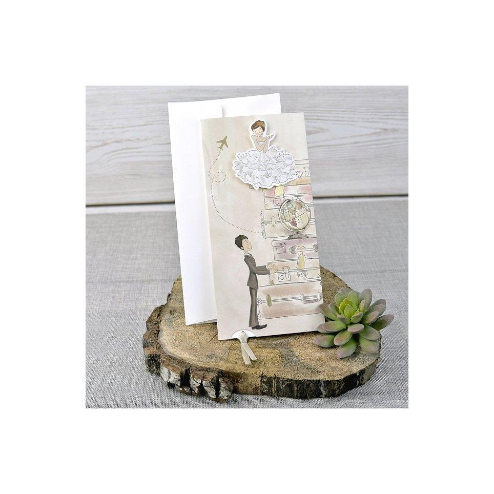 Hochzeitseinladungskoffer Braut und Bräutigam Cardnovel 39324