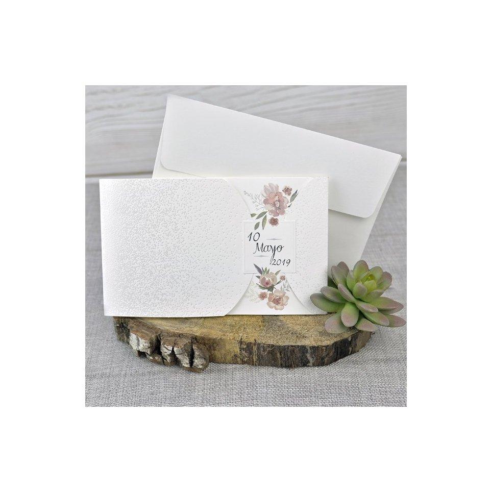 Invitación de boda flores fecha Edima 39331