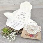 Invitación boda maletín flores Cardnovel 39314 abierta