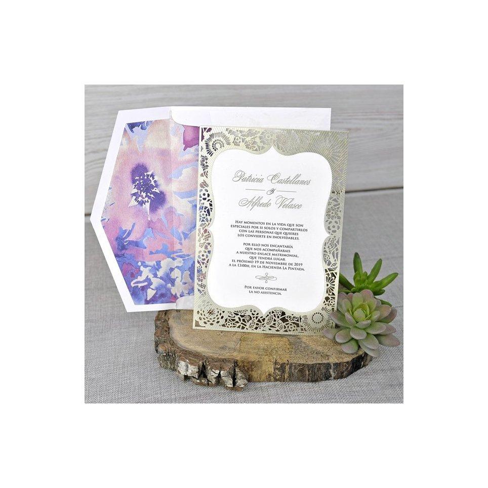 Invitación de boda troquel dorado Cardnovel 39341