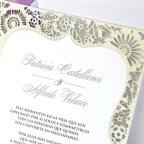 Invitación de boda troquel dorado Cardnovel 39341 detalle