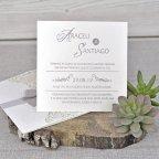 Invitación de boda tríptico floral Cardnovel 39340 abierta