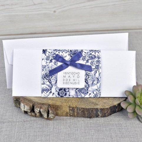 Invitación boda flores azul Cardnovel 39327