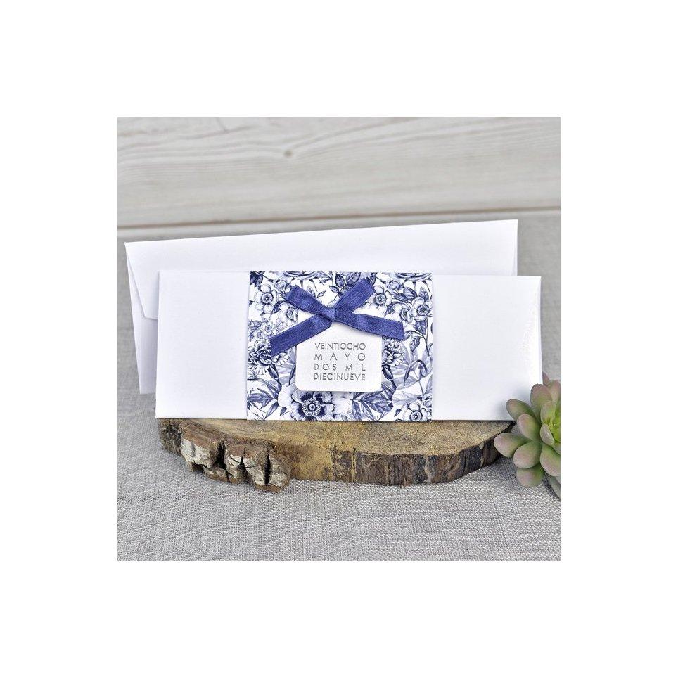 Blaue Blumen Hochzeitseinladung Cardnovel 39327
