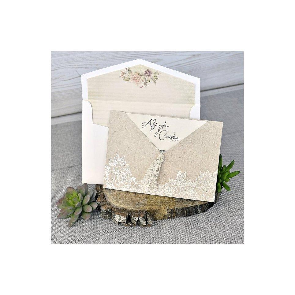 Invitación de boda flores kraft Cardnovel 39302