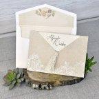 Invitación de boda flores kraft, Cardnovel 39302