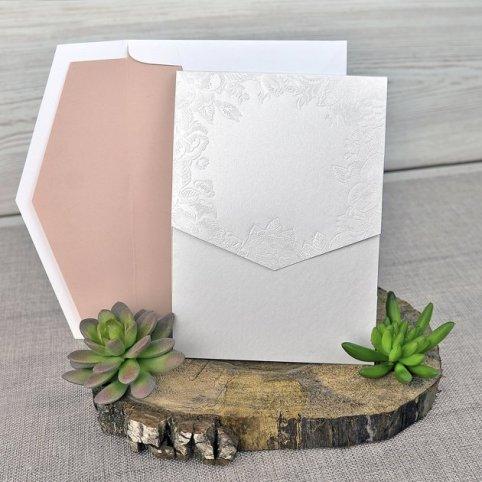 Invitación de boda flores nácar Cardnovel 39312