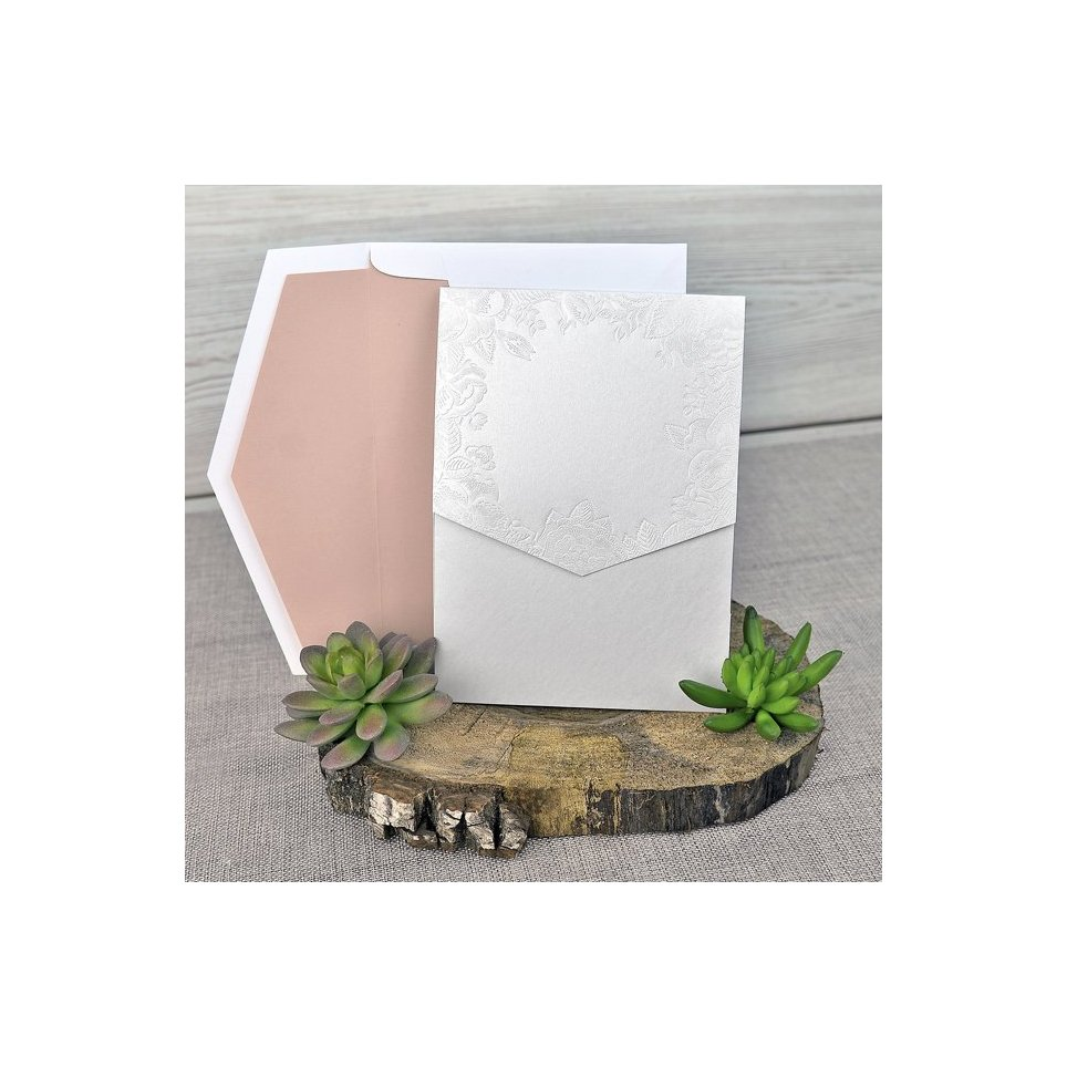 Mother-of-pearl flowers wedding invitation Cardnovel 39312