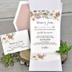Invitación de boda flores nácar Cardnovel 39312 interior