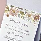 Invitación de boda flores nácar Cardnovel 39312 texto