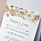 Mother-of-pearl flowers wedding invitation Cardnovel 39312 text